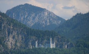 A view of Neuschwanstein  Castle from the Forggensee