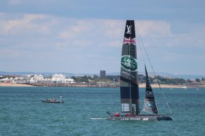 Ben Ainslie's Land Rover BAR team were clear crowd favourites (seen here between races)