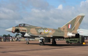 The Typhoon in its special paint job to mark the 75th anniversary of the Battle of Britain