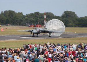 XH558 deploys her braking chute on landing at RAF Fairford