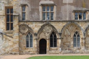 13th century tracery on the west range (now Battle Abbey School)