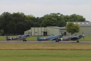 Three Spitfires prepare to join their patrol