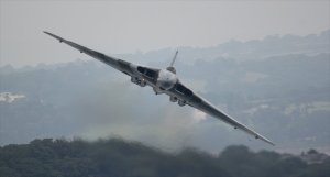 The Vulcan makes an impressive entrance at Dawlish as the bad weather closes in