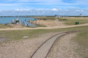 The narrow-gauge railway line to the military jetty