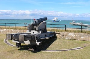The gun platform with a view across to Yarmouth Pier