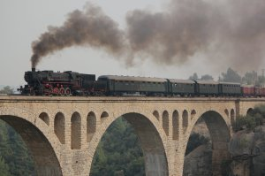 TCDD 56 548 steams over the Varda Viaduct