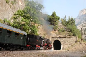TCDD 56 548 approaches the entrance to tunnel 18 between Pozanti and  Belemedik