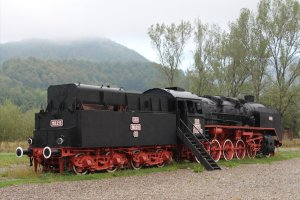 CFR 150.216, built at the Romanian factory in Resita, is on static display in the grounds of the railway at Vișeu de Sus