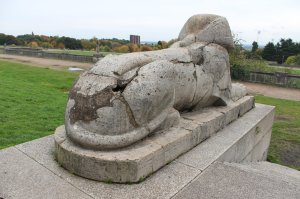 One of the six sphinxes on the terraces