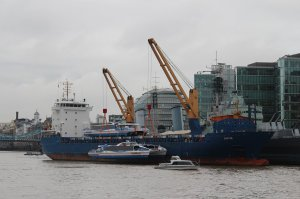 Galaxy Clipper is lowered into the Thames