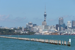 The skyline of Auckland city viewed from Orakei Wharf