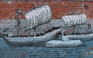 Detail from Phlegm's piece on the wall of Vogel Street Kitchen