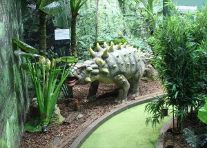 A section of the Lost in Time golf course (complete with moving dinosaur tail!)