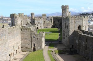 A view of the interior of Caernarfon Castle from outside the Eagle Tower