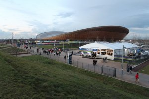 The  Lee Valley VeloPark dressed for the 2016  UCI Track Cycling World Championships