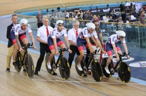 Bradley Wiggins, Owain Doull, Jon Dibben and Ed Clancy line up for the final of the Men's Team Pursuit