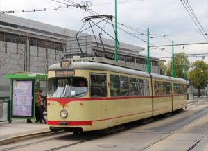 One of the few old style trams that I saw in Poznań