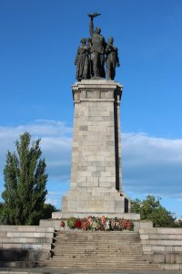 The Monument to the Soviet Army shortly after Victory Day