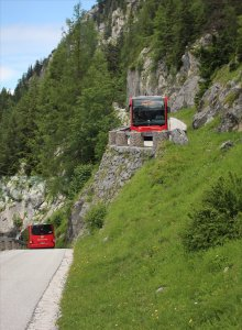 RVO buses descending the mountain, as seen from the hairpin