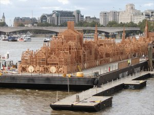 London 1666 under construction on the Thames