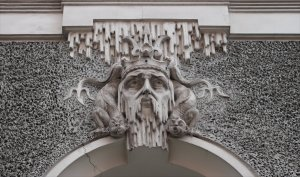 A small detail from the facade of an art nouveau apartment block on Ģertrūdes iela