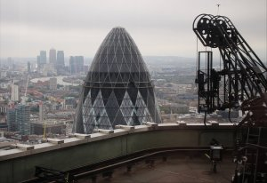 A view of the Gherkin and Canary Wharf from Tower 42