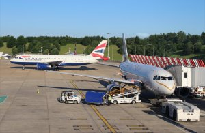A British Airways airbus A319 and A320 at Gatwick earlier this year