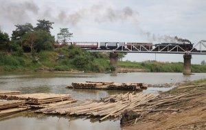 YD967 crosses a bridge over the Bago river