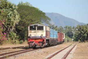 Mixed passenger train no. 86  arrives at Hnin Pale
