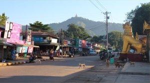 The street scene around the pagoda