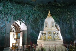 The forest-like interior of the Maha Wizaya Pagoda