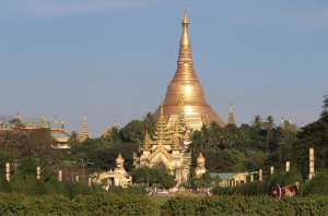 A view of the Shwedagon Pagoda from the People's Park